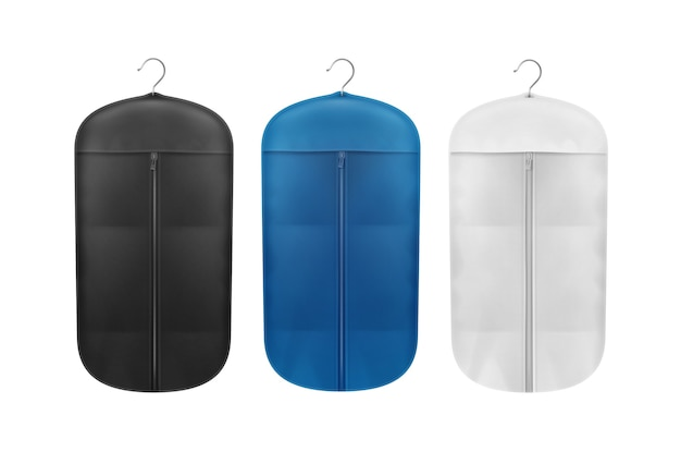 Ensemble de vecteur de couvertures anti-poussière de stockage noir, bleu et blanc bouchent la vue de face isolée sur fond