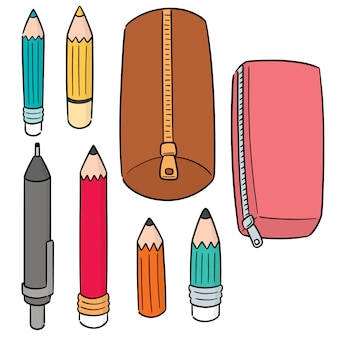 Ensemble de vecteur de crayons et étuis à crayons