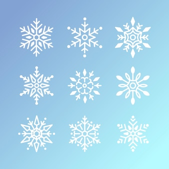 Ensemble de vecteur de design de noël flocons de neige