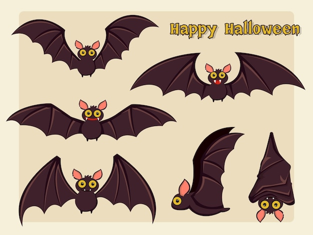 Ensemble de vecteur de dessin animé de chauve-souris halloween sur fond. illustration vectorielle.