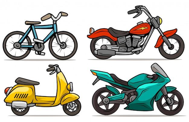 Ensemble de vecteur de dessin animé vélo, scooter et motos