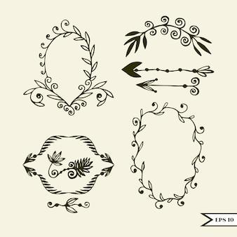 Ensemble de vecteur dessiné main d'éléments de design vintage pour mariage, carte de gr ...