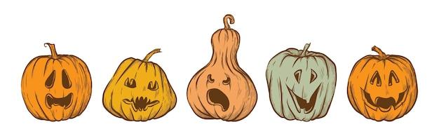 Ensemble de vecteur dessinés à la main jack o lantern icônes citrouilles d'halloween isolés sur fond blanc
