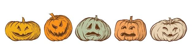 Ensemble de vecteur dessinés à la main jack o lantern icônes citrouilles d'halloween isolés sur fond