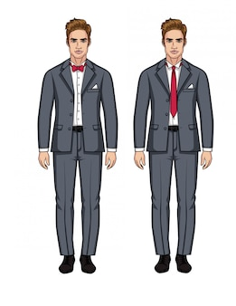 Ensemble de vecteur de deux beaux hommes européens en costume. un gars élégant dans un costume gris avec une chemise blanche et une cravate rouge