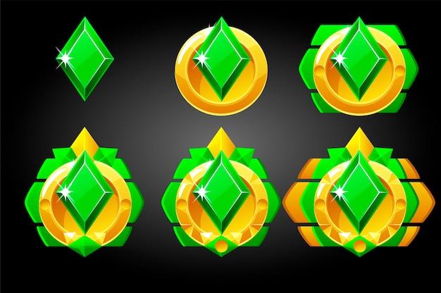 Ensemble de vecteur de diamants symboles de cartes à jouer poker.