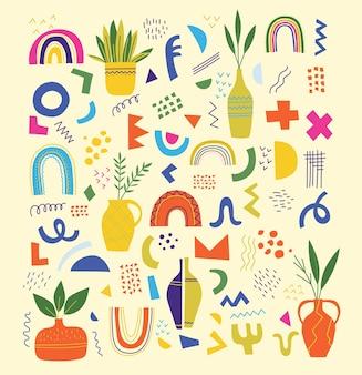 Ensemble de vecteur de doodle à la mode et de formes géométriques et d'icônes de nature abstraite. design organique et minimaliste pour la bannière, la couverture, la décoration de fond de papier peint.