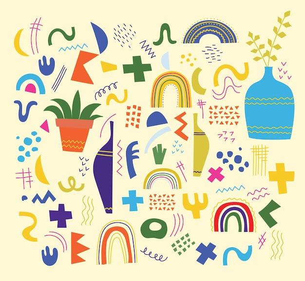 Ensemble De Vecteur De Doodle à La Mode Et De Formes Géométriques Et D'icônes De Nature Abstraite. Design Organique Et Minimaliste Pour La Bannière, La Couverture, Le Papier Peint, La Décoration De Fond D'histoires. Vecteur Premium