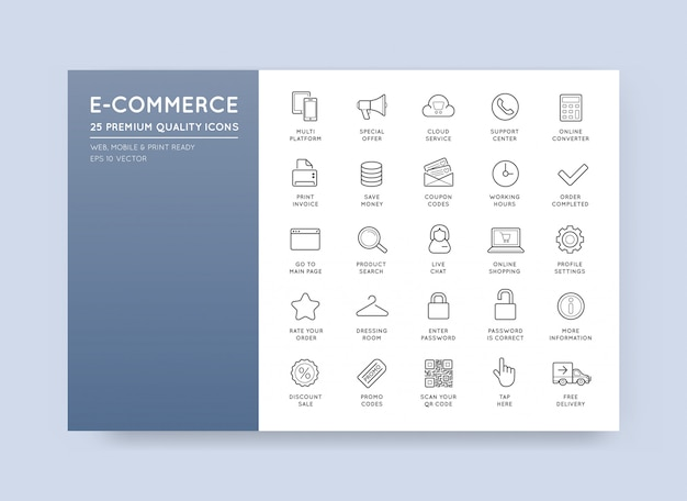 Ensemble de vecteur e-commerce icons shopping et en ligne