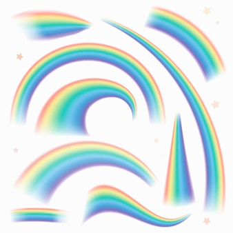 Ensemble de vecteur d'élément de courbe de lumière arc-en-ciel