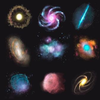 Ensemble de vecteur d'élément de galaxie esthétique