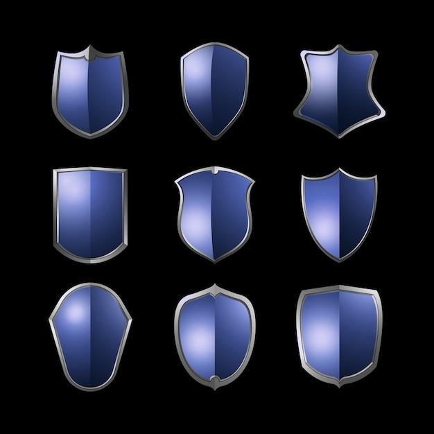 Ensemble de vecteur d'éléments de bouclier baroque bleu