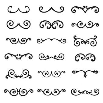 Ensemble de vecteur d'éléments de conception calligraphiques et décor de la page