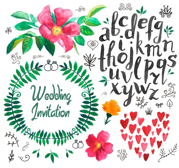 Ensemble de vecteur d'éléments de conception de mariage dessinés à la main vintage, rubans, invitation, éléments décoratifs. collection de mariage