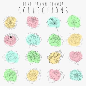 Ensemble de vecteur d'éléments floraux dessinés à la main