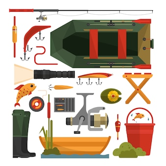Ensemble de vecteur d'éléments de matériel de pêche isolé. éléments de design plat.