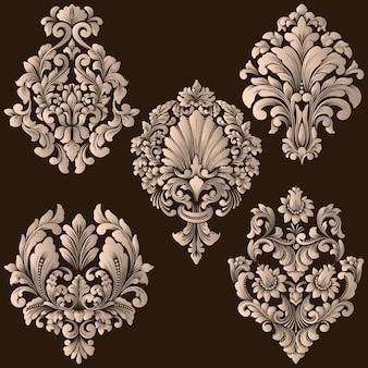 Ensemble de vecteur d'éléments ornementaux damassés. élégants éléments abstraits floraux pour la conception. parfait pour les invitations, les cartes, etc.