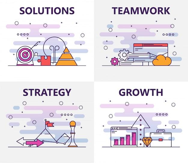 Ensemble de vecteur d'éléments avec solutions, travail d'équipe, stratégie, notion de croissance