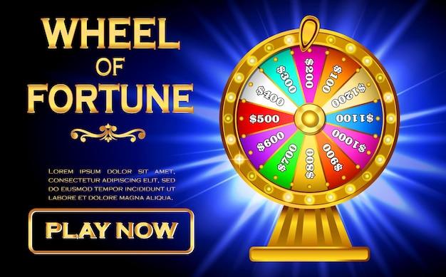 Ensemble de vecteur eps de concept de roue de fortune roulette de rotation réaliste 3d