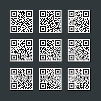 Ensemble de vecteur d'étiquette code à barres isolé qr code