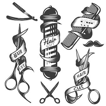 Ensemble de vecteur d'étiquettes de vecteur de salon de coiffure dans un style vintage