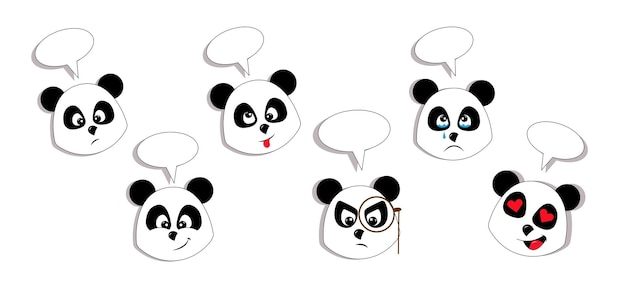 Ensemble de vecteur d'expressions de panda mignon