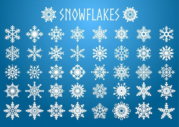 Ensemble de vecteur de formes de flocons de neige.
