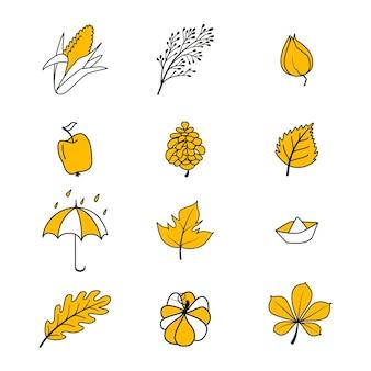 Ensemble de vecteur d'icônes d'automne. collection d'éléments de griffonnage de la saison d'automne confortable. fond clair pour la récolte. carte postale d'automne. illustration vectorielle