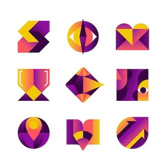 Ensemble de vecteur d'icônes de bloc de couleur créative