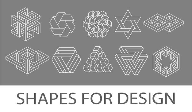 Ensemble de vecteur d'icônes de formes géométriques de trait blanc