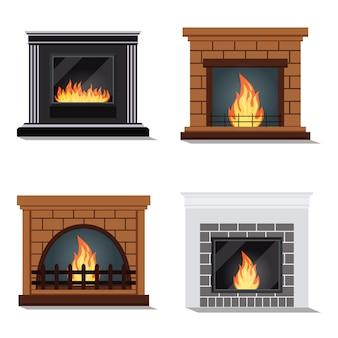 Ensemble de vecteur d'icônes isolées de cheminée à feu confortable.