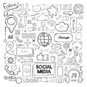 Ensemble de vecteur d'icônes de médias sociaux