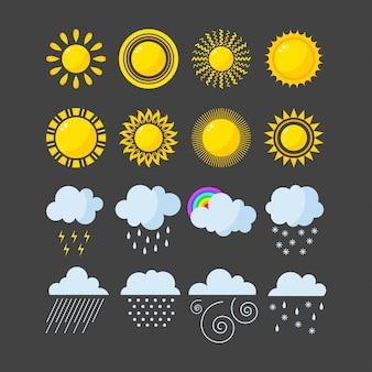 Ensemble de vecteur d'icônes météo.