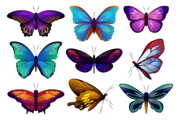Ensemble de vecteur d'icônes papillon ou papillon papillon