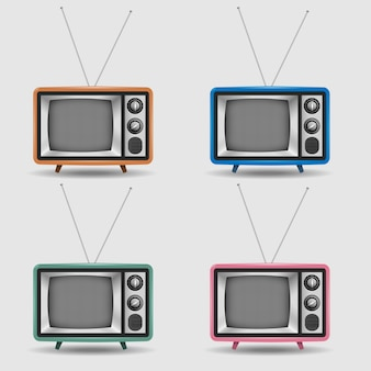 Ensemble de vecteur d'icônes réalistes de télévision rétro