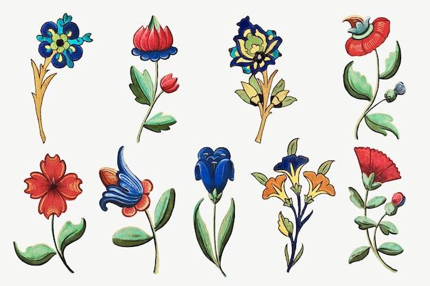 Ensemble de vecteur d'illustration de fleur vintage, présentant des œuvres d'art du domaine public