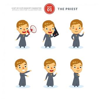 Ensemble de vecteur d'images de dessin animé d'un prêtre. premier set. isolé