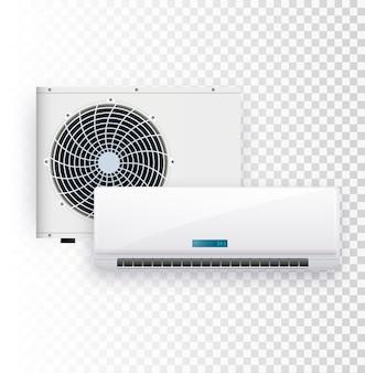 Ensemble de vecteur d'installation de climatiseur sur fond transparent