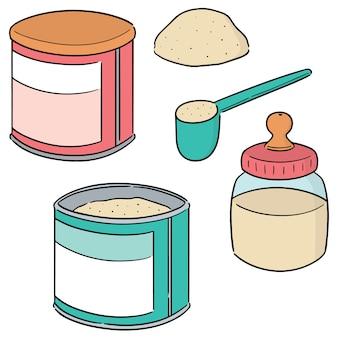 Ensemble de vecteur de lait en poudre