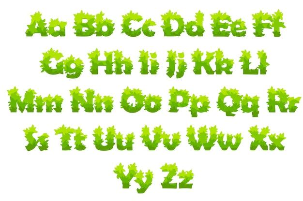 Ensemble de vecteur de lettres de dessin animé d'herbe verte.