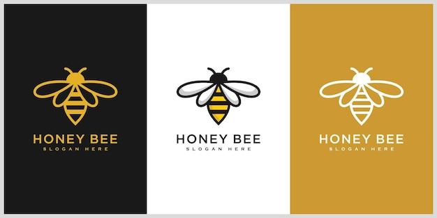 Ensemble de vecteur de logo d'animaux d'abeille de miel