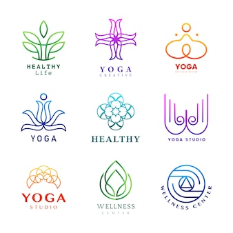 Ensemble de vecteur de logo d'yoga coloré