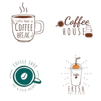 Ensemble de vecteur de logos de café