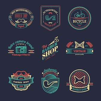 Ensemble de vecteur de logos hipster vintage. collection d'icônes rétro de vélo, moustache, appareil photo, etc.