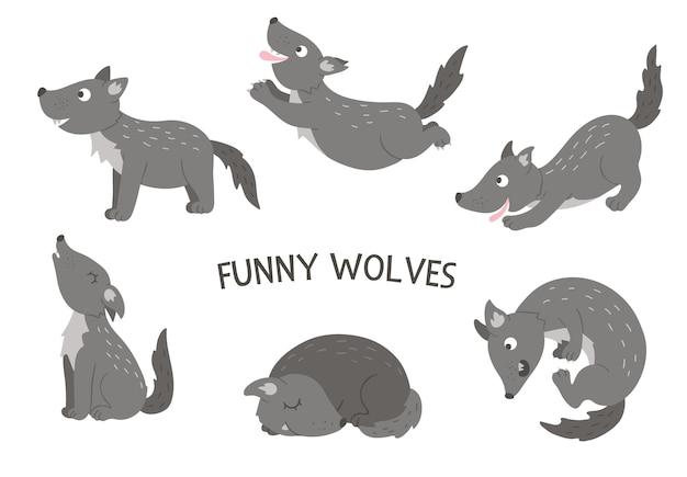 Ensemble de vecteur de loups drôles plats dessinés à la main de style dessin animé dans des poses différentes. jolie illustration d'animaux des bois