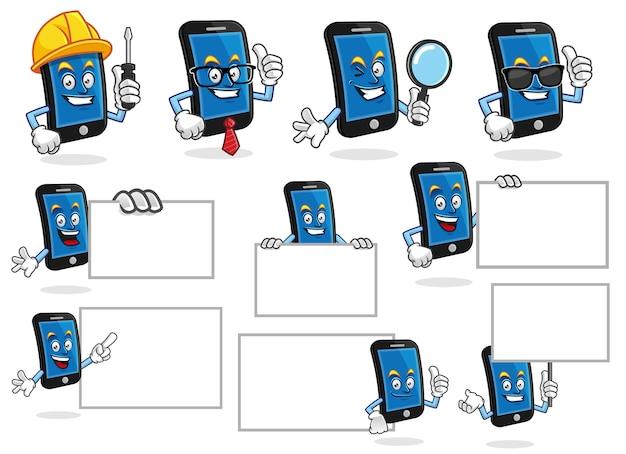 Ensemble de vecteur de mascotte de téléphone intelligent