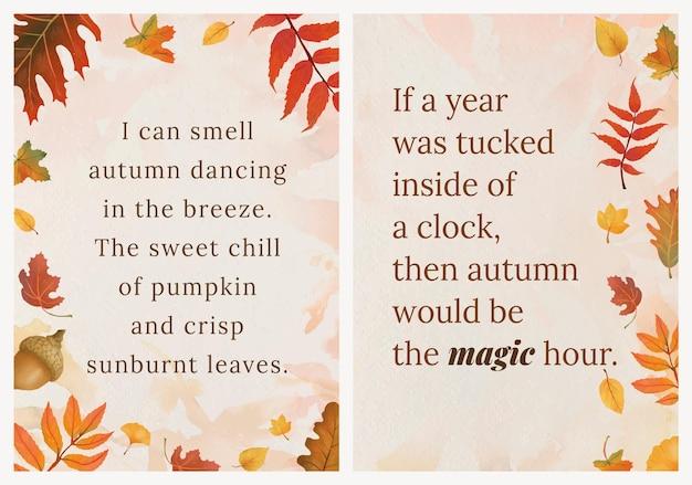 Ensemble de vecteur de modèle de citation de saison d'automne pour l'affiche