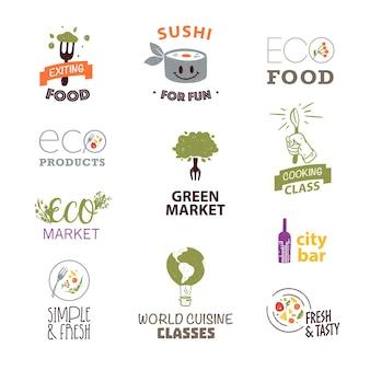 Ensemble de vecteur de modèle de conception de logo alimentaire plat avec texture et éléments floraux dessinés à la main