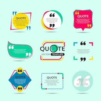 Ensemble de vecteur de modèle de texte de citation créative avec un fond coloré