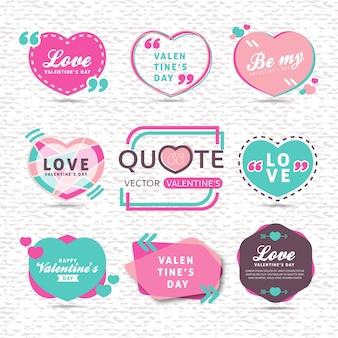 Ensemble de vecteur de modèle de texte de citation créative de la saint-valentin avec fond coloré en forme de coeur